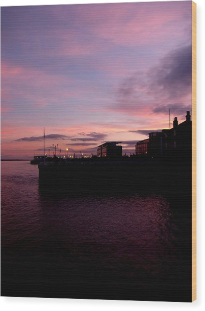 Sun Setting On Hull Marina Wood Print