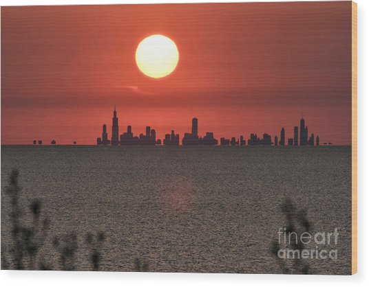 Sun Setting Over Chicago Wood Print by Christopher Purcell