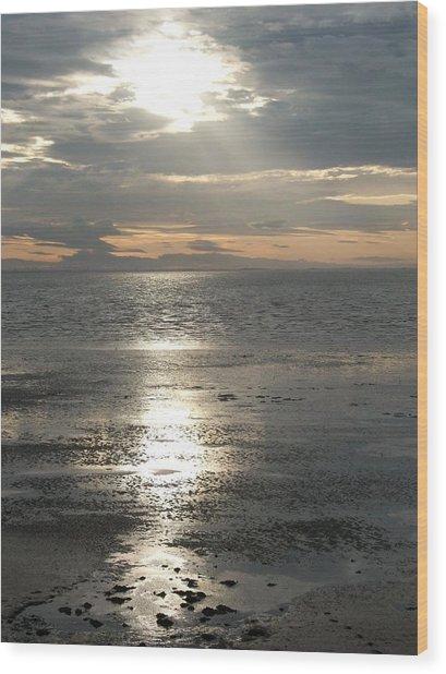 Sun Setting Over Spurn Point Wood Print
