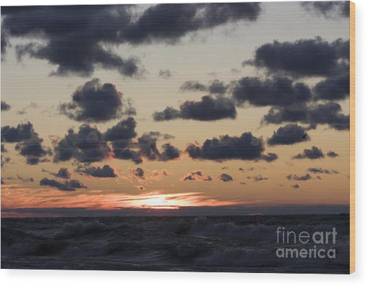 Sun Setting With Dramatic Clouds Over Lake Michigan Wood Print by Christopher Purcell