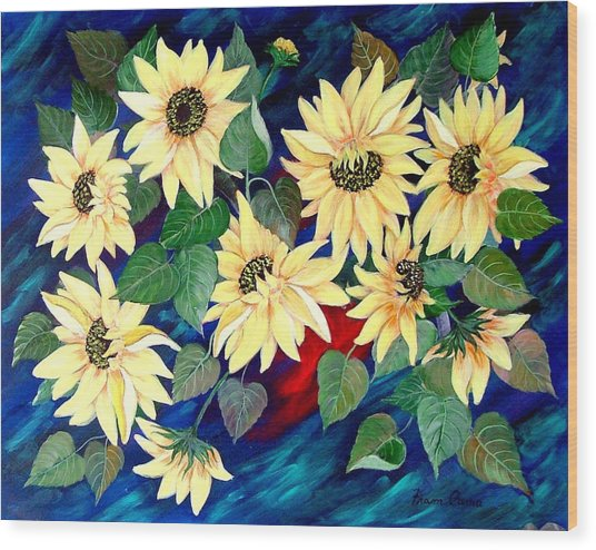 Sunflower Orgy Wood Print