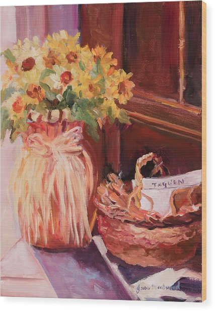 Sunflowers And The Breadbasket Wood Print by Jane Woodward