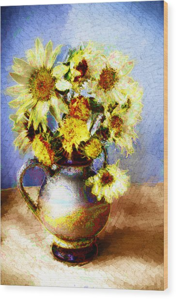 Sunflowers Wood Print by Heiko Mahr