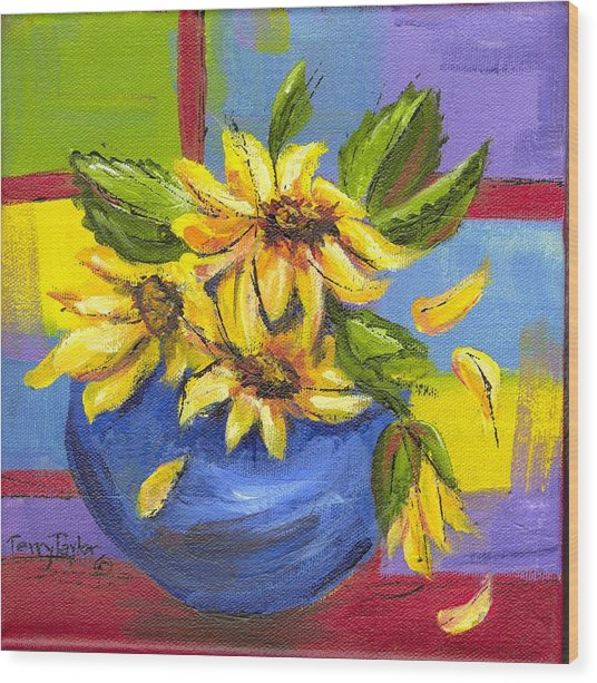 Sunflowers In A Blue Bowl Wood Print