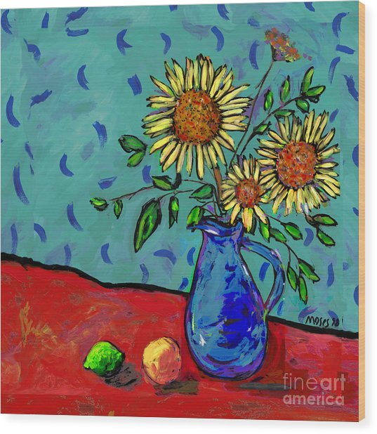 Sunflowers In A Milk Pitcher Wood Print