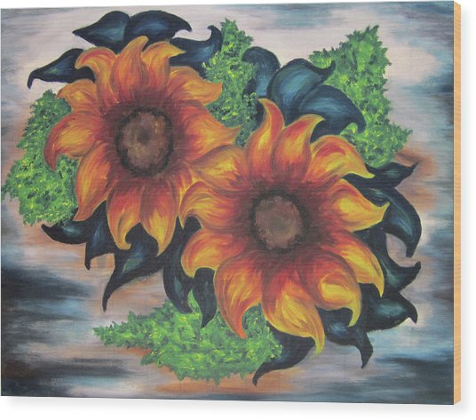 Sunflowers In A Still Life Wood Print