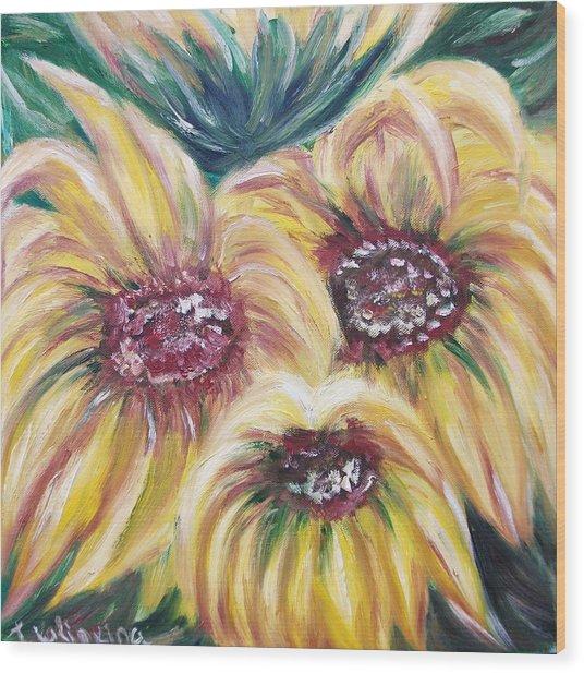 Sunflowers Wood Print by Irina Kalinkina