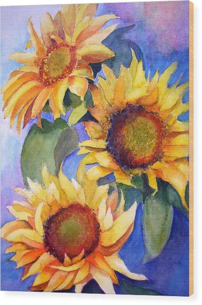 Sunflowers Wood Print by Lori Chase