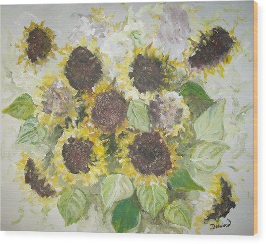 Sunflowers Profile Wood Print