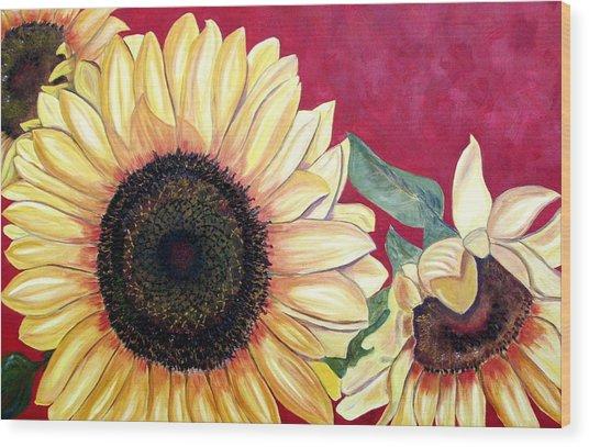 Sunflowers Three  Wood Print by Maria Soto Robbins