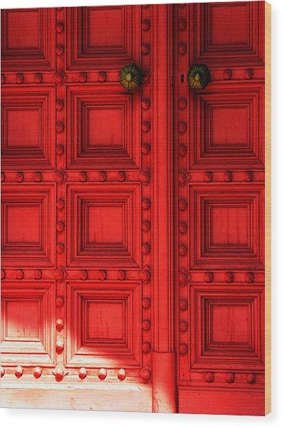 Sunlight On The Red Door Wood Print