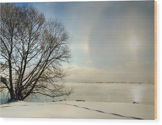 Sunlight Refracted In Hexagonal Ice Crystals Wood Print by Gail Shotlander