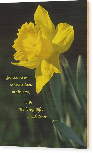 Sunny Daffodil With Quote Wood Print