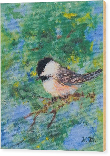 Sunny Day Chickadee - Bird 2 Wood Print