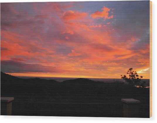 Sunrise Above Boulder-photo Wood Print