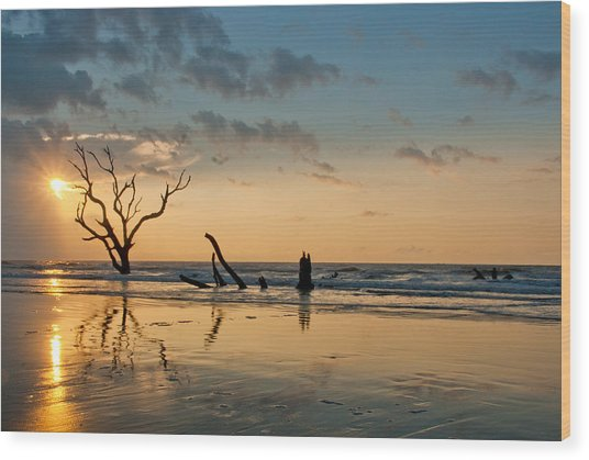 Sunrise At Bone Yard Beach Wood Print