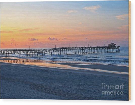 Sunrise At Cherry Grove Pier Wood Print