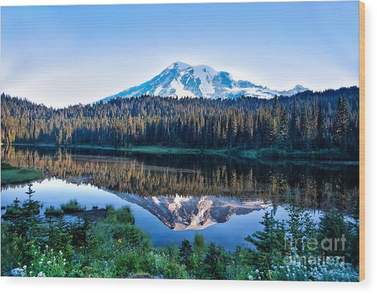 Sunrise At Reflection Lake Wood Print