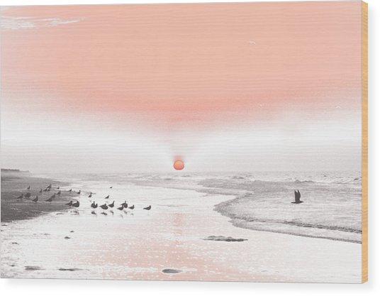 Pastel Sunrise Beach Wood Print