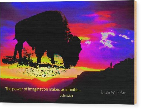 Sunrise Bison Collage Wood Print