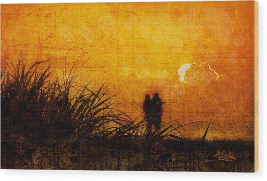 Sunrise Couple Wood Print