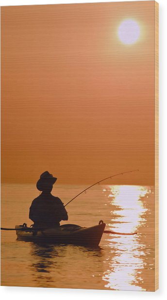 Sunrise Fishing Wood Print