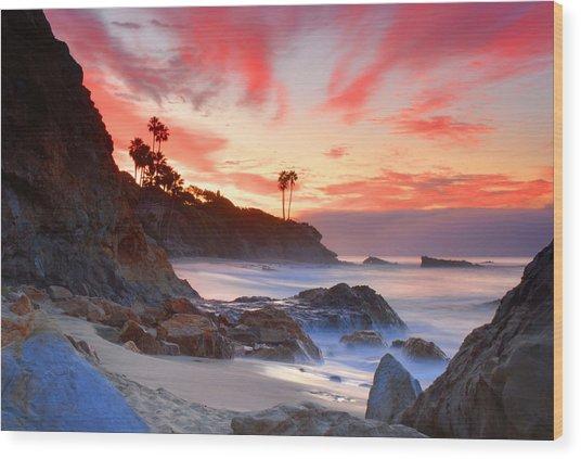 Sunrise In Laguna Beach Wood Print
