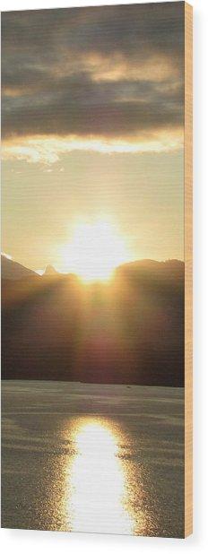 Sunrise In The Fjord Wood Print by Judy Garrett