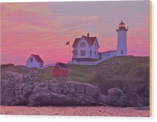 Sunrise Nubble Lighthouse Wood Print