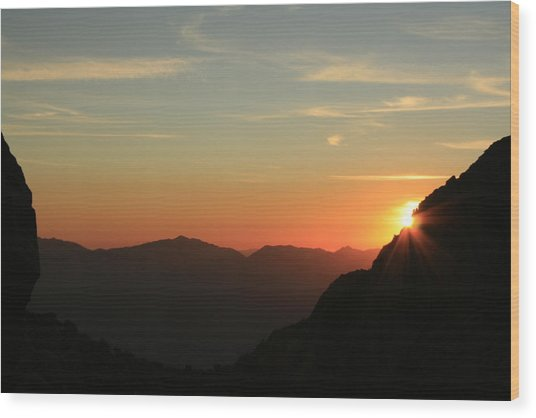 Sunrise On Mt.whitney Wood Print