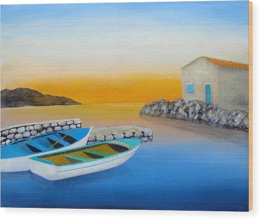 Sunrise On The Adriatic Wood Print