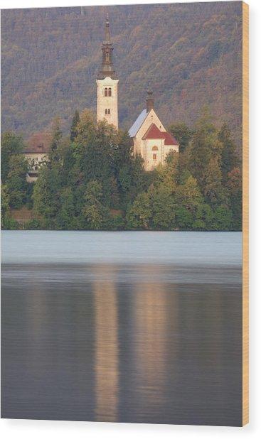 Sunrise Over Lake Bled And The Island Church Wood Print