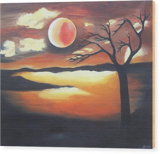Sunset - Oil Painting Wood Print by Rejeena Niaz