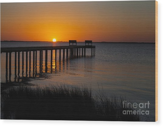 Sunset Across Currituck Sound Wood Print