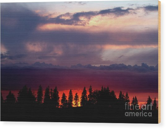 Sunset After Storm Wood Print