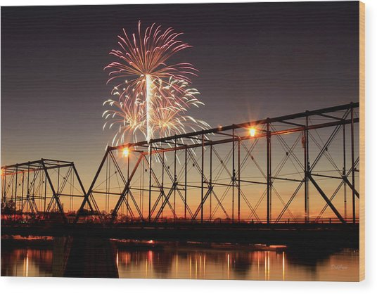 Sunset And Fireworks Wood Print
