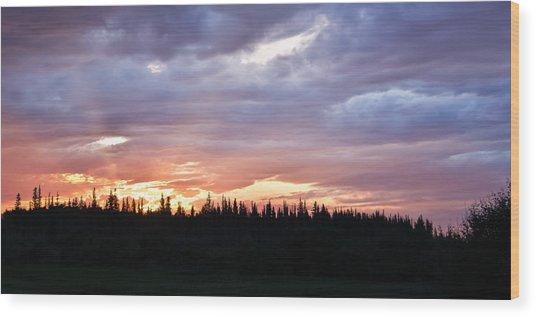 Sunset And Sun Rays Wood Print