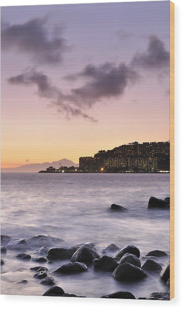 Sunset At Arguineguin Wood Print by Cristo Bolanos