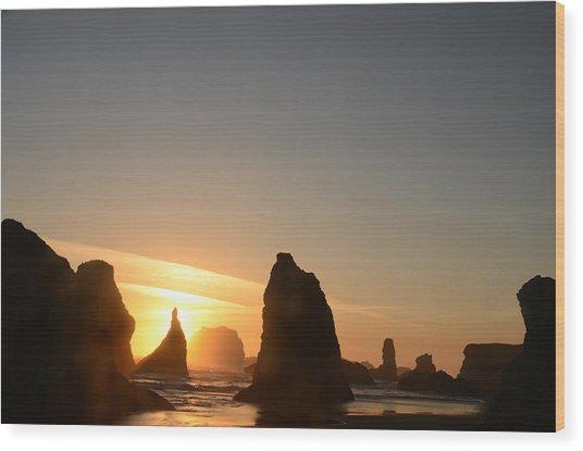 Sunset At Bandon Beach Wood Print