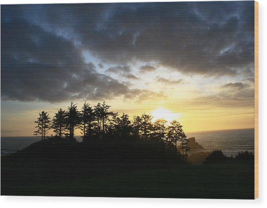 Sunset At Ecola Point Wood Print