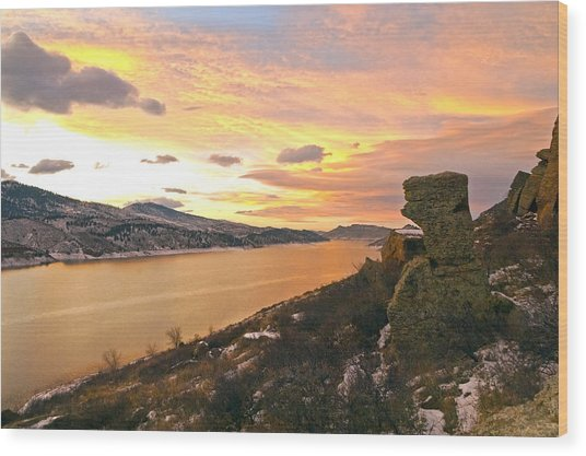 Sunset At Horsetooth Dam Co. Wood Print