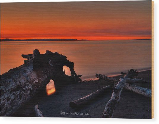 Sunset At Marina Beach Park In Edmonds Washington Wood Print by Sarai Rachel