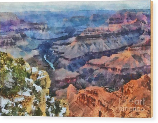 Sunset At Mohave Point At The Grand Canyon Wood Print