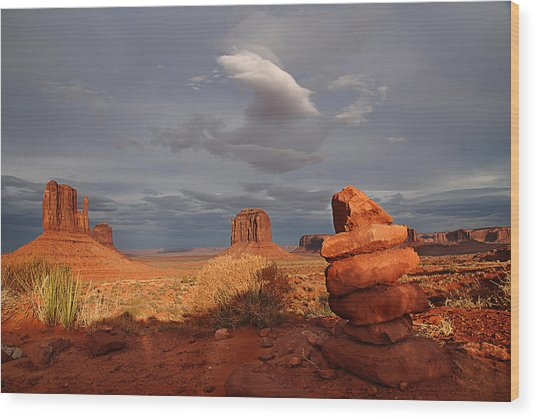 Sunset At Monument Valley Wood Print
