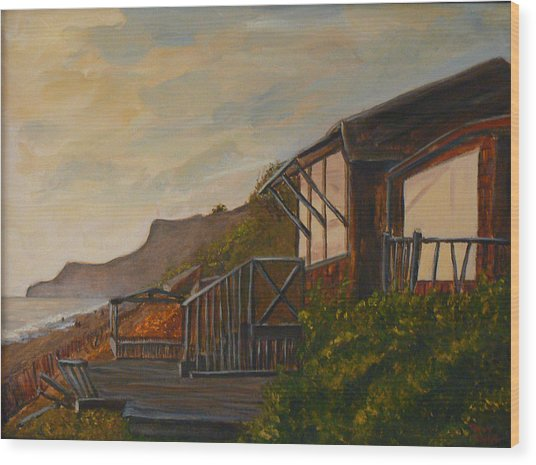 Sunset At The Beach House Wood Print