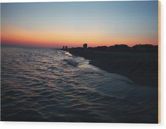 Sunset At The Gulf Shores Wood Print