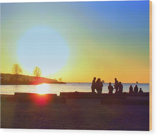 Sunset Beach Party Wood Print