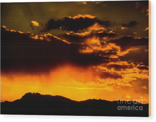 Sunset Behind Horsetooth Rock Wood Print