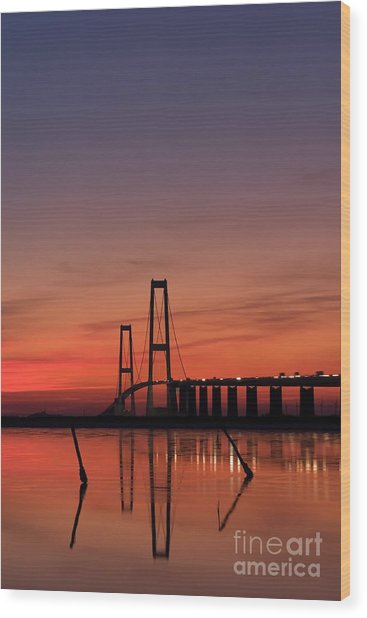 Sunset By The Bridge Wood Print