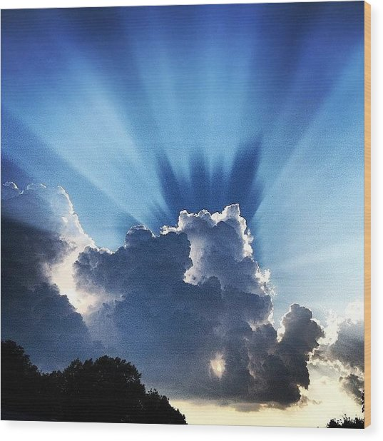 #sunset #clouds #weather #rays #light Wood Print